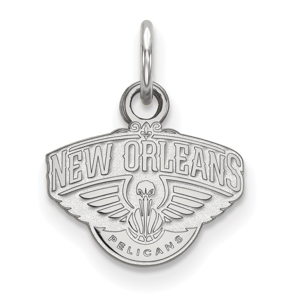 Roy Rose Jewelry 14K White Gold NBA LogoArt New Orleans Pelicans X-small Pendant / Charm