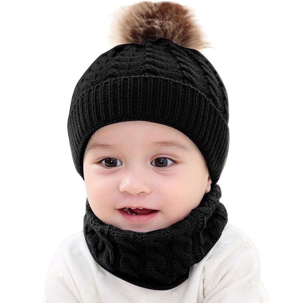Topgrowth Cappello A Maglia Bimbo Neonata Cappellino con Sciarpa Set 2Pcs Casual Invernale Cappelli Bambina Carina Berretto A Maglia con Pom