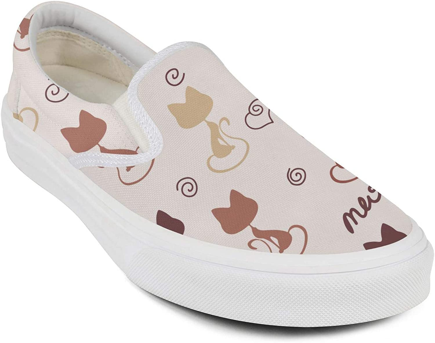 Womens Roses in The Cat Casual Shoes Cute Canvas Walking Shoes for Women