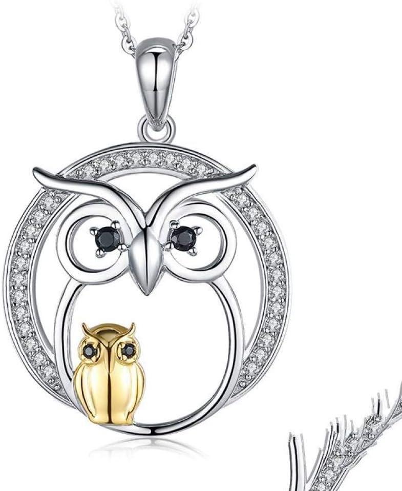Angelazy Colgantes De Plata 925 para Mujer,Romántico De Moda Cute Chainless Owl Espinela Negra Natural Forma Encante para Damas Accesorios Joyas Regalo De Cumpleaños Parte Accesorios