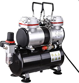 AW Pro Twin-Cylinder 1/3 HP Airbrush Compressor