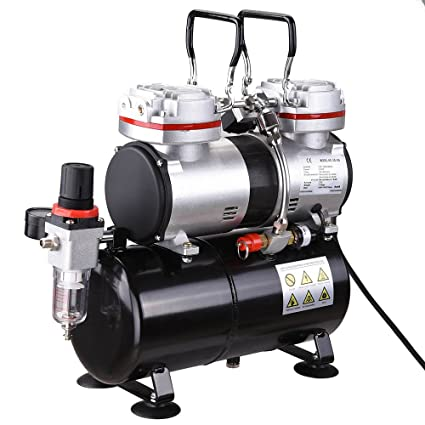 Amazon.com: Double-Cylinder Airbrush Air Compressor with Air Tank Filter Gauge Portable Oil-Less Design Double Switch CE ROHS Certificate US Delivery: Arts, ...