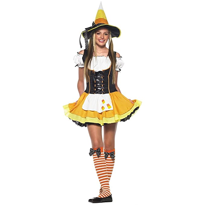amazon com leg avenue women s 3 piece kute kandy korn witch dress rh amazon com candy corn witch costume adult candy corn halloween costume