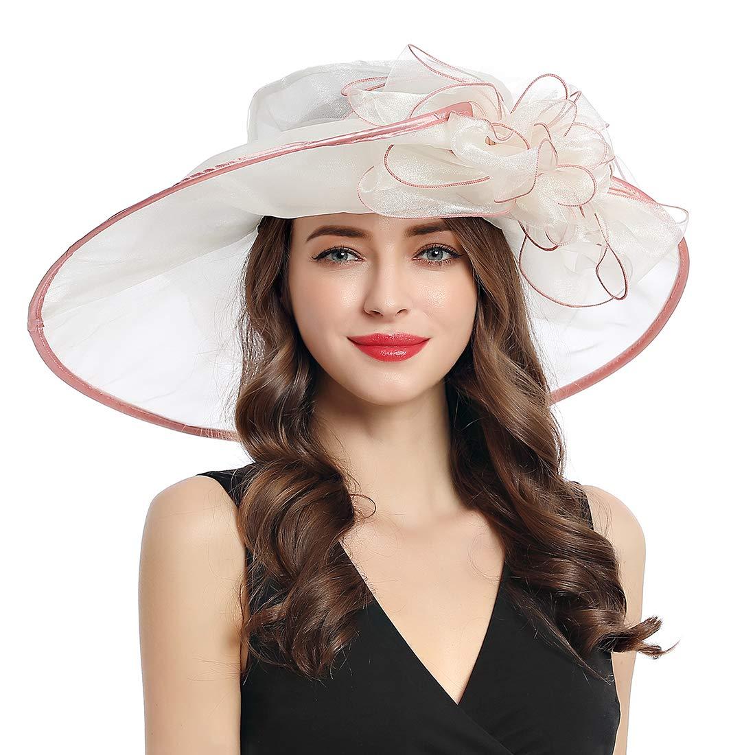 Women's Organza Church Derby Fascinator Cap Kentucky Tea Party Wedding Hat (9A-Beige)