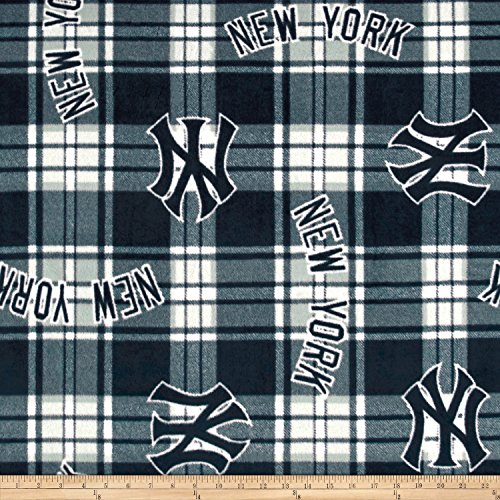 Fabric Traditions MLB Fleece New York Yankees Paid Navy/White Fabric by The Yard, Navy/White - Yankees Fleece Fabric