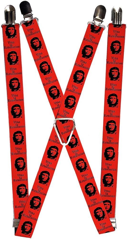 One Size Multicolor Buckle-Down Mens Suspender-Che Guevara