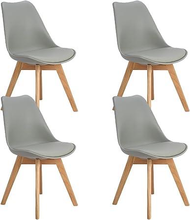 DORAFAIR Pack 4 sillas escandinava Estilo nórdico Silla de Comedor, con Las piernas de Madera de Roble Maciza y cojín cómoda,Gris: Amazon.es: Hogar