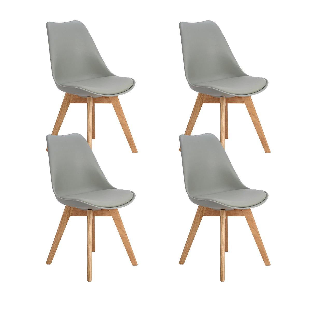DORAFAIR set di 4 sedia design scandinave sedia da pranzo con gambe in quercia massiccio e cuscini in finta pelle, Bianco