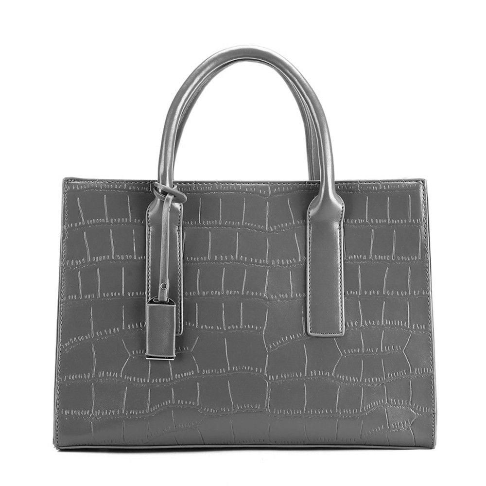 Vogue Embossed Handbag Single Shoulder Slung Shoulder Bag,Gray,35X25X14Cm