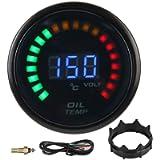 Duokon Oil Temperature Gauge,52mm Digital Oil Temperature Gauge LED Color LCD Dispaly W/Sensor Harness Car Meter