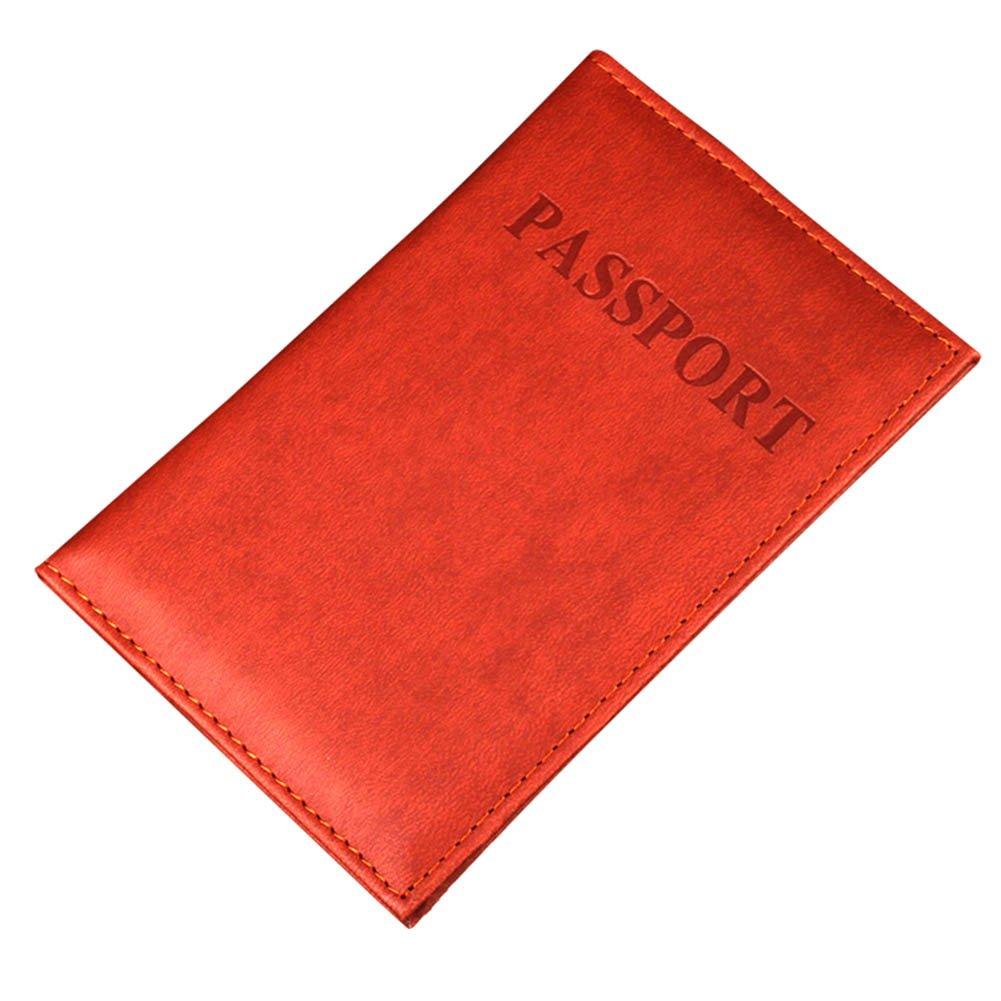whthteeyレザーパスポート財布シンプル実用的プレミアム標準パスポートカバー レッド  レッド B077FLDS7P