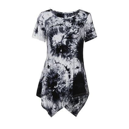 Vestidos, Ba Zha Hei Tops para mujer Manga Corta Moda camisetas blusa ropa mujer Contraste