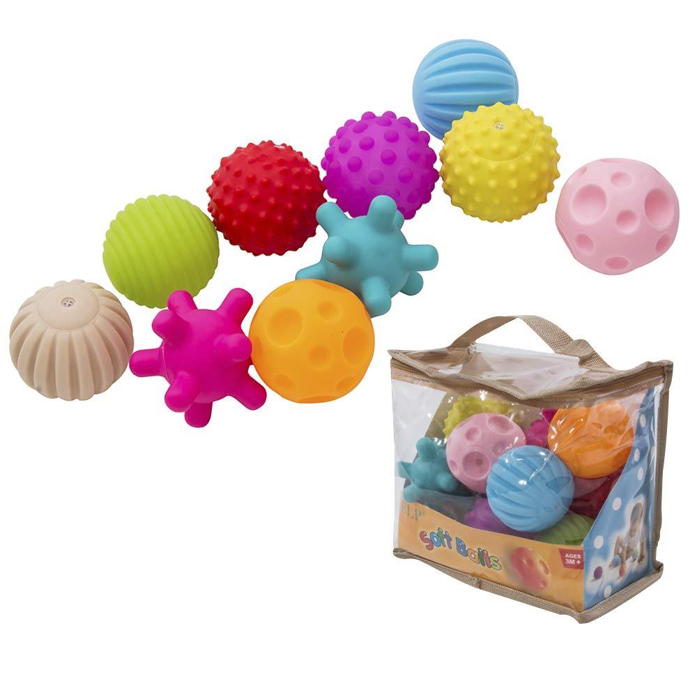 LITTLEGRASS Pack of 10 Sensory Balls Soft & Textured Spiky Balls Squeezy and Bouncy Fidget Toys Multi-Shape with Bright Colors and Sounds for Baby Toddler BPA Free