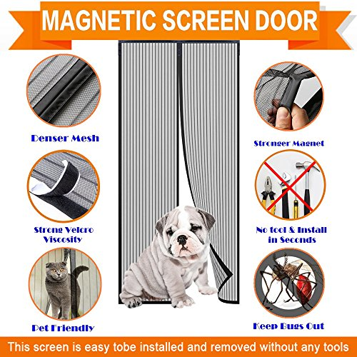 MangGou Magnetic Screen Door,Heavy Duty Mesh Screen Door,Full Frame Velcro,Magic Retractable Mesh Curtain,Keep Fly Mosquitos Bug Insect out Screen,Close Automaticlly,Fits Door Openings up to - Fix Frame To How Glasses
