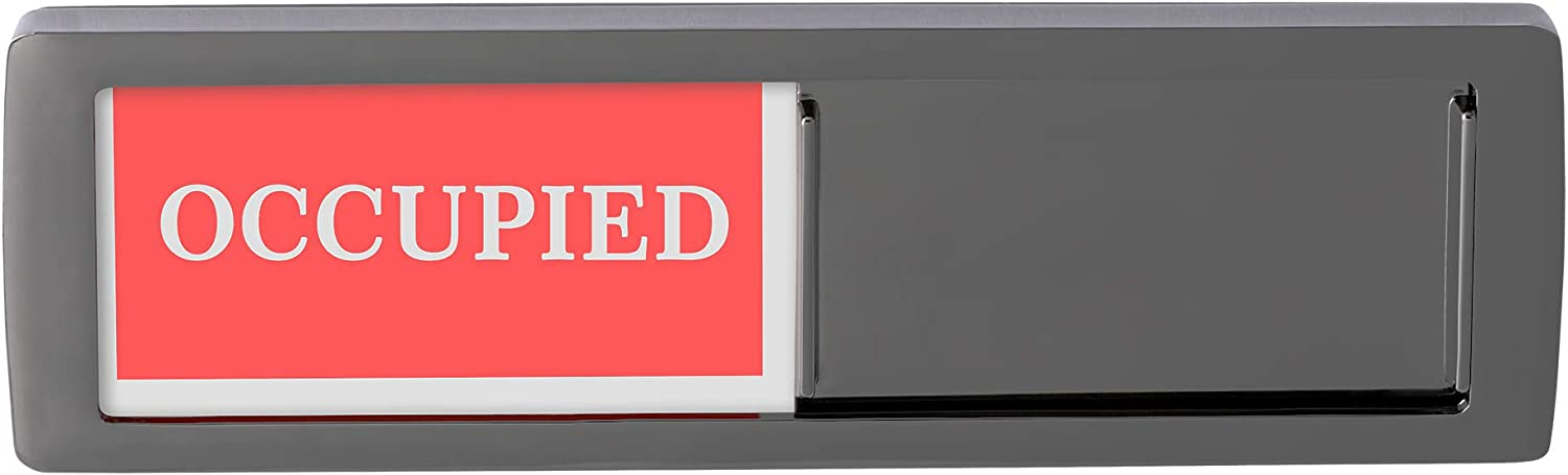 Privacy Sign Premium Metal Deisng Vacant Occupied Sign for Home Office Restroom Conference Hotles Hospital, Slider Door Indicator Tells Whether Room Vacant or Occupied, 6'' x 2'' - Black
