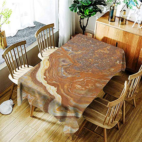 XXANS Fashions Rectangular Table Cloth,Marble,Unique Earthen Toned Mother Earth Natural Travertine Structures Display,Table Cover for Dining,W50x80L Cinnamon Earth Yellow
