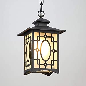 WHYA 30cm Victoria Retro Chain Adjustable Ceiling Pendant Lamp Aluminum Glass E27 Exterior Rainproof Hanging Lantern European Villa Garden Courtyard Porch Terrace Outdoor Droplight Chandelier