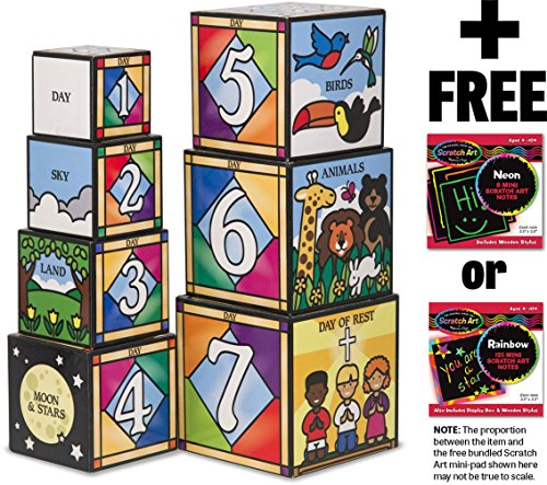 Melissa & Doug Days of Creation Stacking and Nesting Blocks Set + FREE Scratch Art Mini-Pad Bundle [27779]]()
