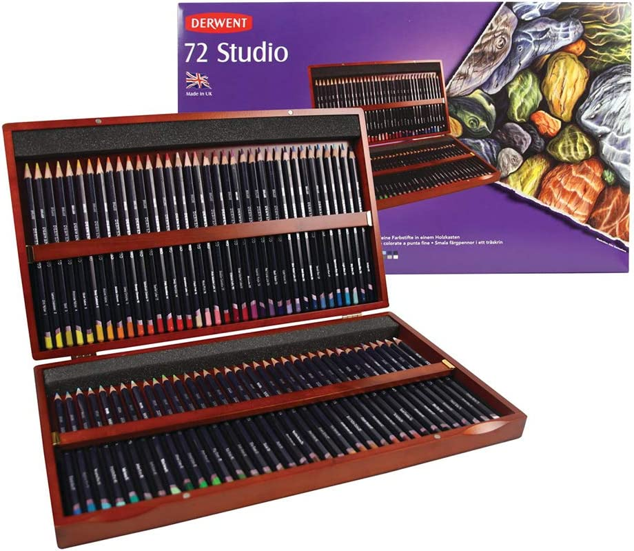 Derwent Colored Pencils, 72 Studio, 3.4mm Core, Wooden Box, 72 Count (32199) : Wood Colored Pencils : Office Products