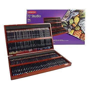 Derwent Studio - Set de 72 lápices de colores de punta fina, con estuche de madera, multicolor