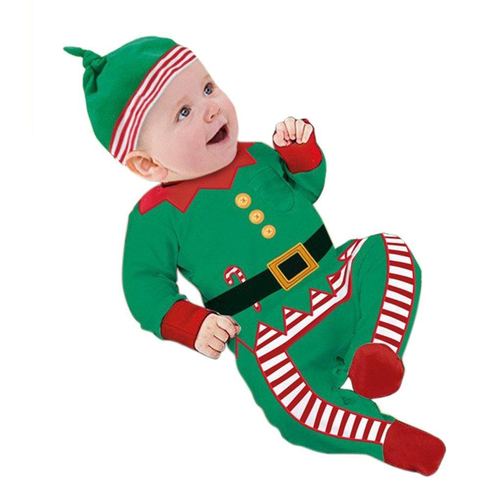ESHOO bebé Pelele trajes ropa de Navidad + sombrero, mono con body niño niña verde verde Talla:9-12 meses: Amazon.es: Bebé
