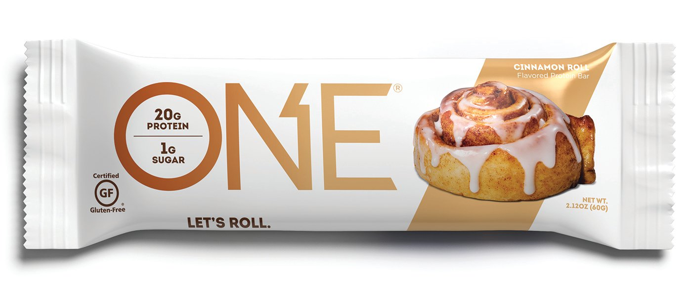 ONE Protein Bar, Cinnamon Roll, 2.12 oz. (12 Pack), Gluten-Free Protein Bar with High Protein (20g) and Low Sugar (1g), Guilt Free Snacking for Healthy Diets