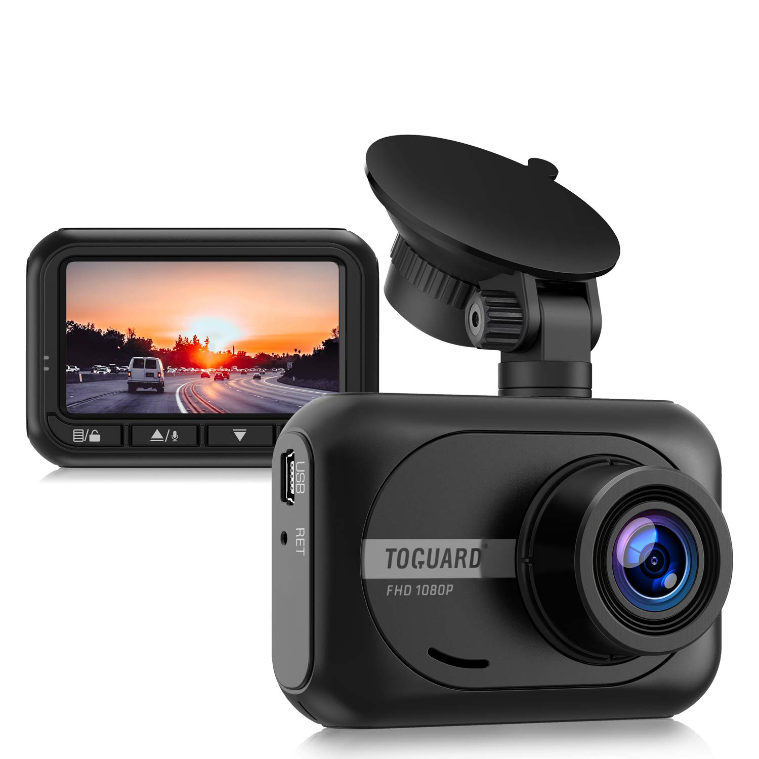 TOGUARD Dash Cam 1080P Full HD Car Camera, 2.45 inch 170° Wide Angle Dash Cams for Cars with Parking Monitor, G-Sensor and Loop Recording by TOGUARD