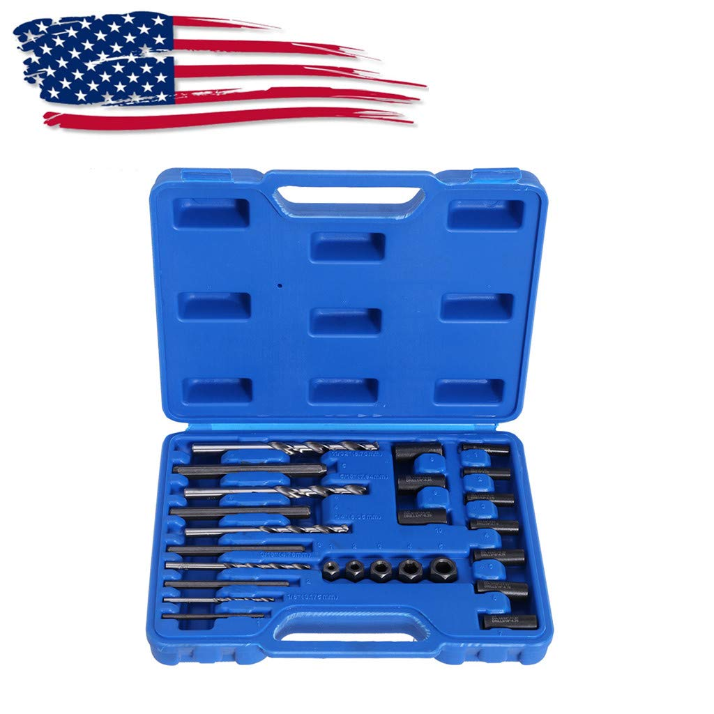 Automotive Tool Kit, Vithconl 25Pc Screw Extractor Easy Out Drill & Guide Set Broken Screws Bolts Remover (Ship from US)