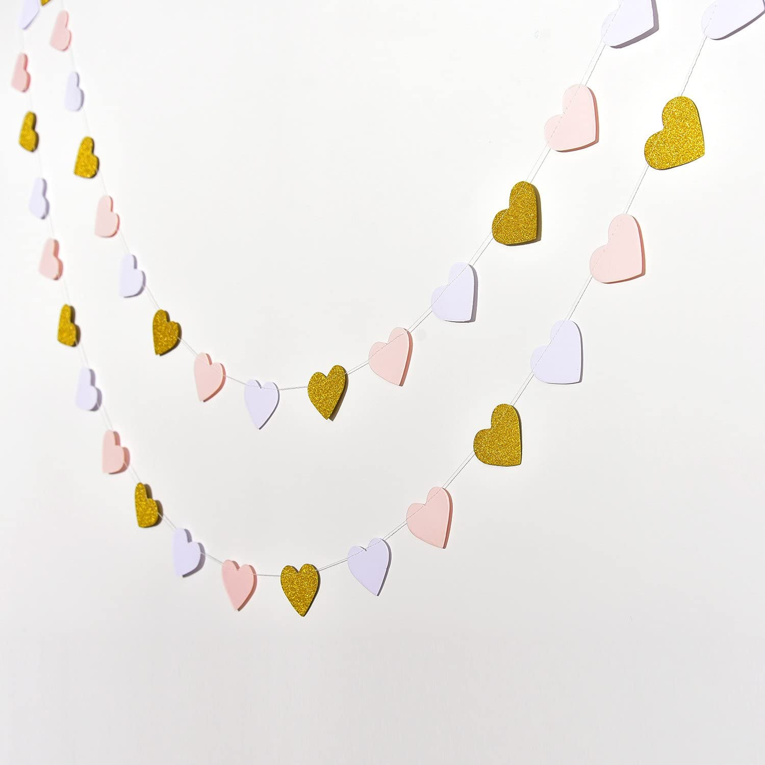 Glitter Gold 10 Feet Each White and Pink Hestya 2 Pack Paper Heart Garlands Heart Hanging Banner Bunting for Valentines Day Wedding Party Decoration