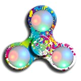 Oyedens LED Light Tri-Spinner Fidget Toy Hand Spinner Stress Reducer Relieve Anxiety and Boredom Camo (White)
