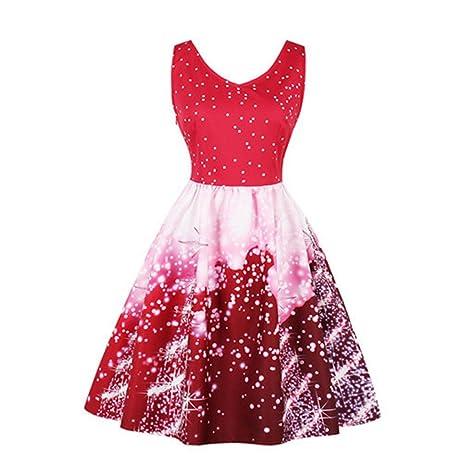 Xmas Plus Size Winter Christmas Dress Women Sleeveless Vintage Printed Dress Vestidos De Festa fs2327 burgundy