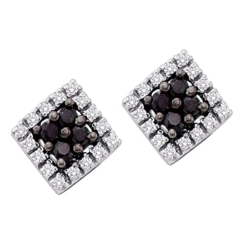 Black and White Round Cut Diamond Stud Earrings in 10k Yellow OR White Gold Square Setting – 9mm Height 9mm Width 1 4 cttw