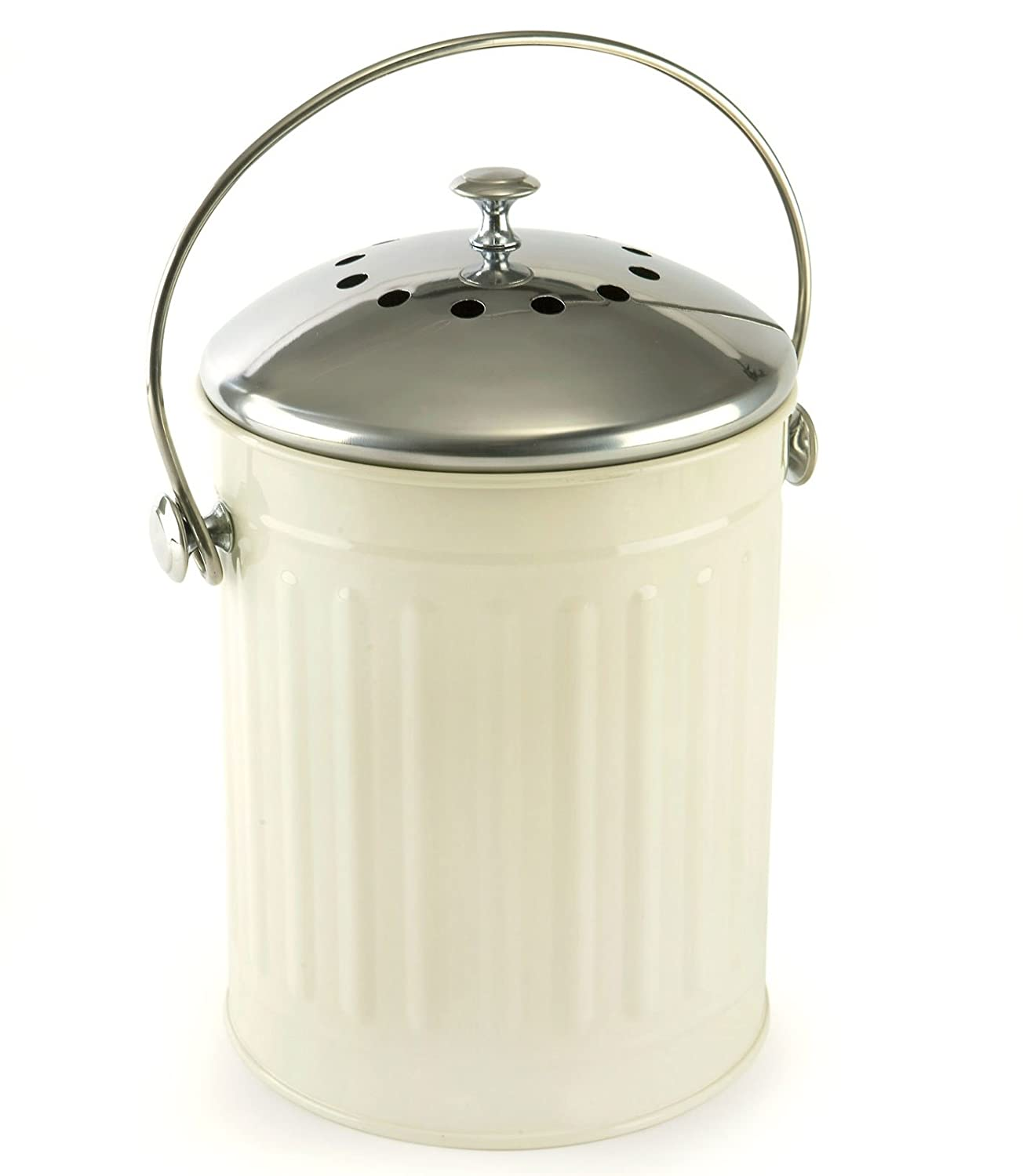 Eddingtons Deluxe Compost Caddy with brushed Stainless Steel lid and ...