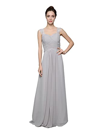 QINGYUAN Womens Sweetheart Prom Dress Floral Lace Chiffon Evening Gowns US 10 Grey