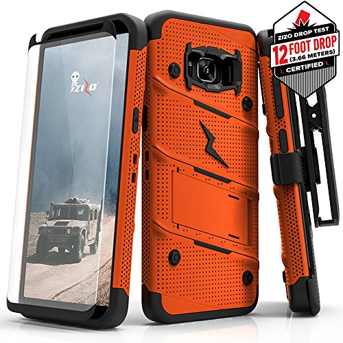 Galaxy S8 Active Case – Zizo [Bolt Series] FREE [S8 Active Screen Protector] Kickstand [12 ft. Military Grade Drop Tested] Holster Samsung