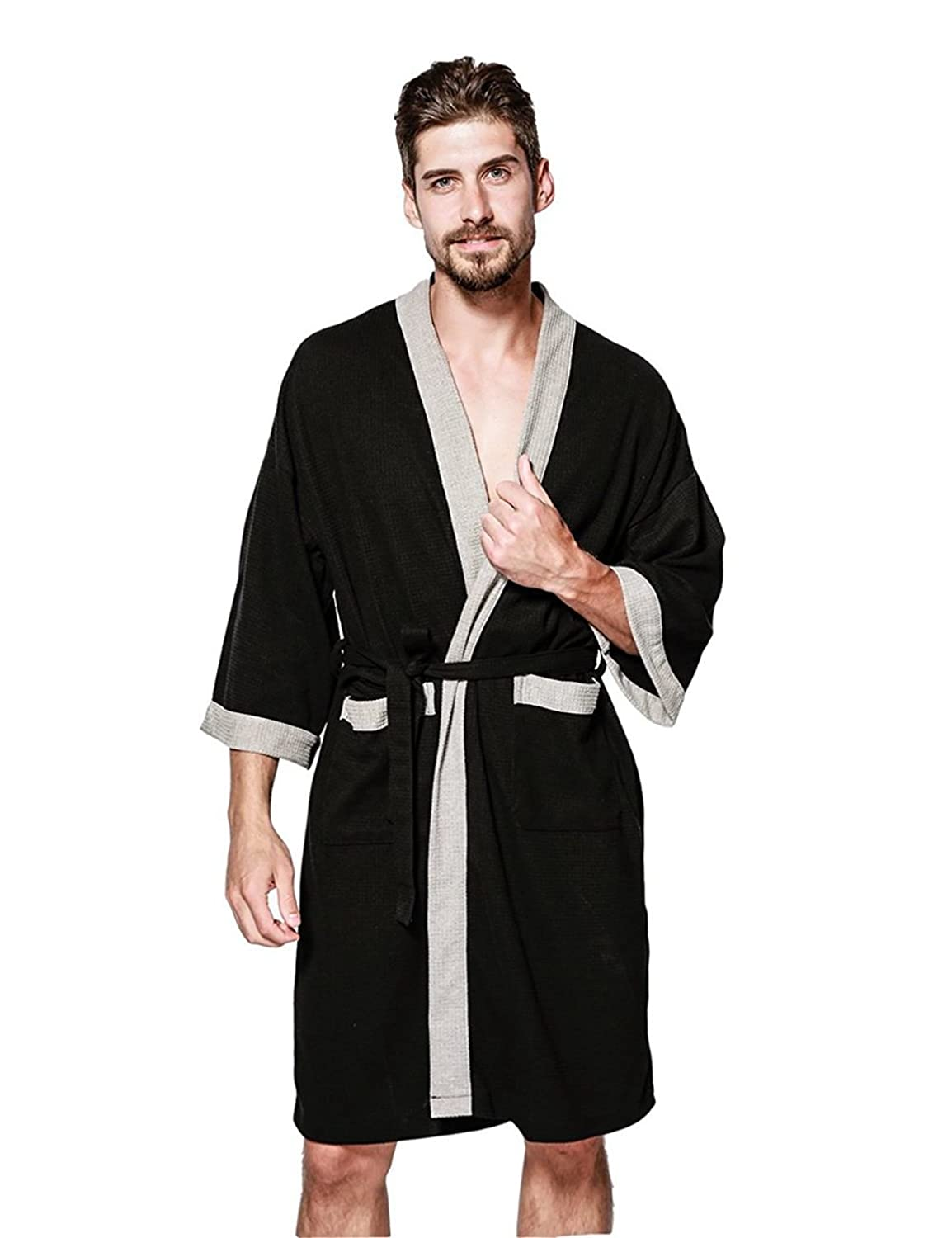 Ween Charm Men's Waffle Kimono Robe Cotton Lightweight Nightgowns Spa Terry Cloth Bathrobe Sleepwear by Ween Charm