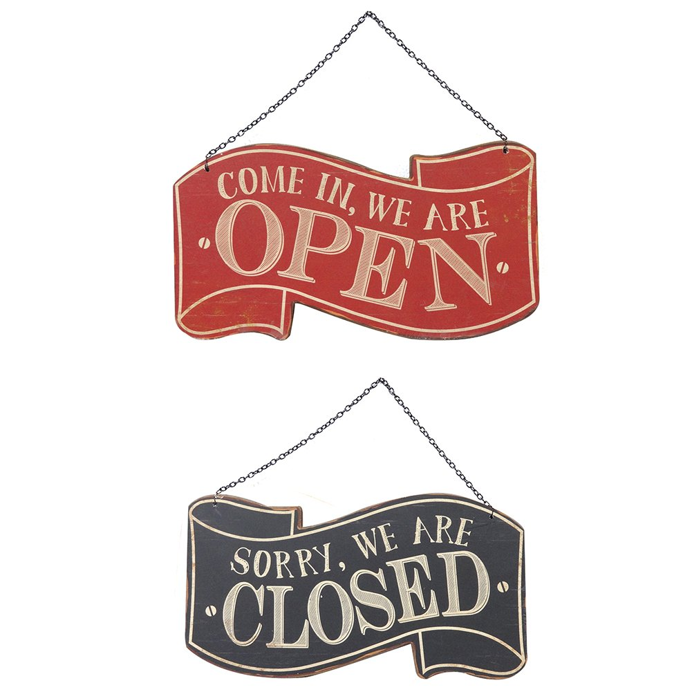 NIKKY HOME Wood Double Sided Open and Closed Store Signs with Chain Hand, 11.87 x 0.37 x 10.87 Inches, Black & Red