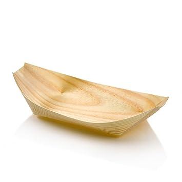 Kraftz 100 Pc Bambus Holz Boote Einweg Geschirr Fur Snacks