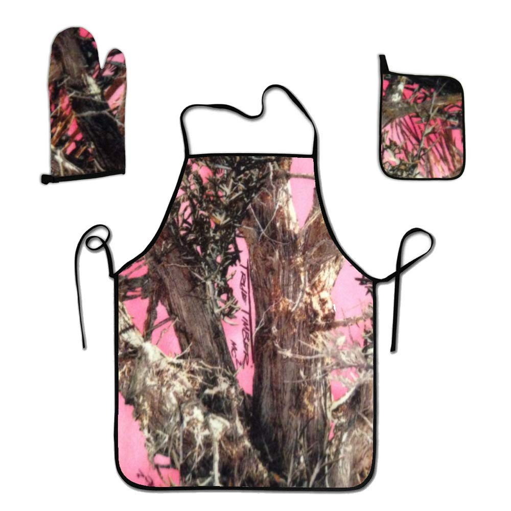 liubajsdj BBQ Apron with Holder and Oven Mitt- Pink Tree Camo Grilling Aprons for Men