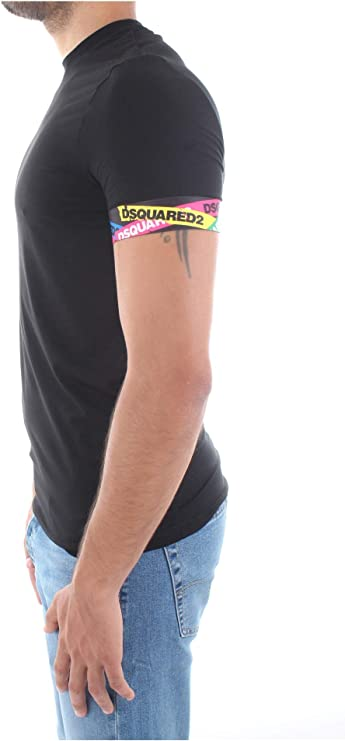 DSQUARED2 Underwear Camiseta Manga Corta Cinta Logo Manga Color Negro (XL): Amazon.es: Ropa y accesorios