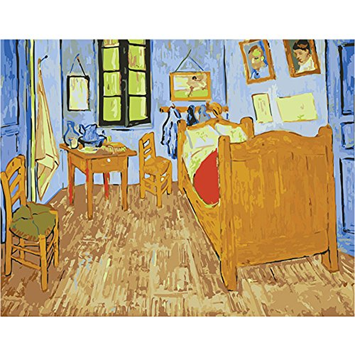 LICSE Paint by Number Kit Diy Oil Painting Drawing Canvas with Decor Van Gogh Arles Bedroom (Arles Canvas)