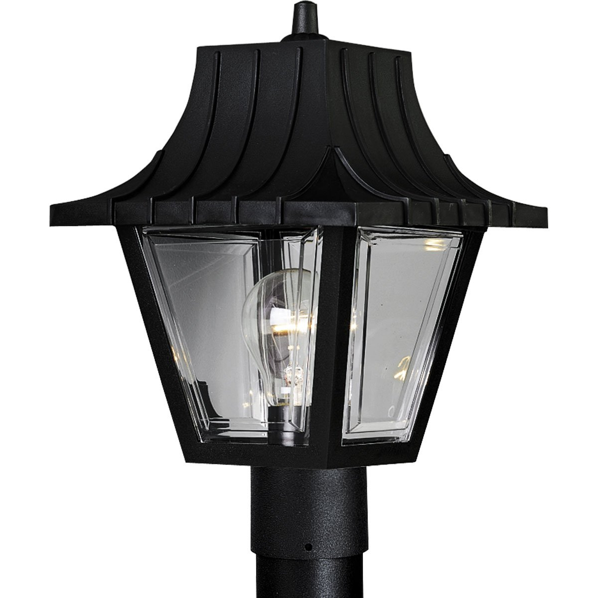 Progress Lighting P5414-31 Post Lantern with Ribbed Mansard Roof Beveled Clear Acrylic Panels, Textured Black