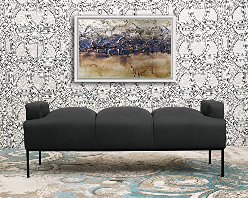 (Iconic Home Carmel Bench Pebble Grain PU Leather Ottoman with Metal Frame, Black)
