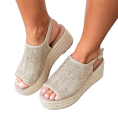 6388f47bd4a Womens Wedge Sandals Espadrilles Platform Heeled Sandles Open Toe Fashion  Summer Cute Braided Shoes for Girls