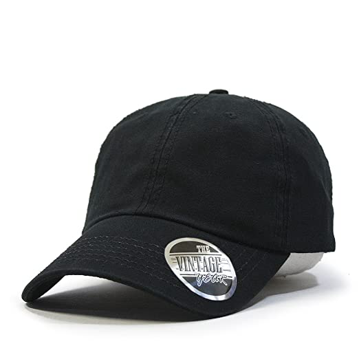 Vintage Year Classic Solid Cotton Adjustable Dad Hat Baseball Cap (Black) e9e3abb4eee