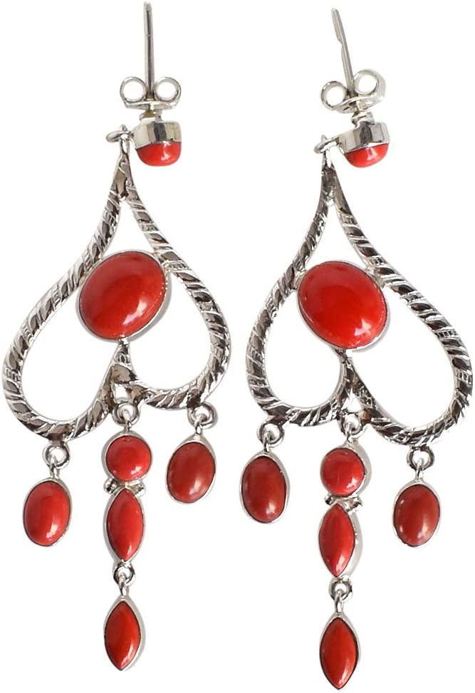 Pendientes colgantes de plata de ley 925 con piedras preciosas de coral rojo para niñas FSJ-823