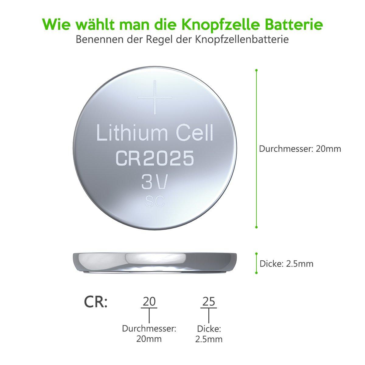 EBL CR2025 3V Lithium Kopfzelle Batterie 5 Stück