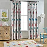 Melodieux Cartoon Trees Room Darkening Thermal Insulated Blackout Pencil Pleat Curtains with 2 Cute Wave Ties for Kids Room, 66' Width x 90' Drop, 1 Pair