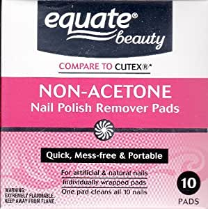 Amazon Com Non Acetone Nail Polish Remover Pads By Equate 10ct Compare To Cutex Beauty