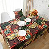 HOLY HOME Table Linen 100% Cotton Linen Tablecloth BOHO Style Sunflowers Rose Red Party Wedding Christmas Table Cover Mother's Gifts Home Décor (55''x70'')